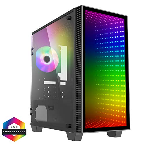 GameMax Mini Abyss ARGB Micro-ATX PC-Gaming-Gehäuse, MATX, 3-poliger Aura Sync, 1 x 120 mm ARGB Lüfter enthalten, ARGB Hub, 5 Lüfter-Unterstützung, Wasserkühlung bereit | Schwarz