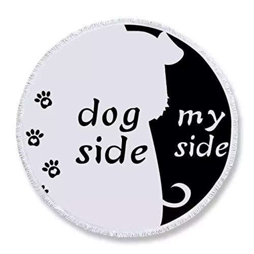 GermYan Toalla de Playa Redonda de Microfibra para Adultos Lado del Perro y mi Lado Toalla de Verano Grande 150Cm Estera de Yoga para Mascotas de Dibujos Animados
