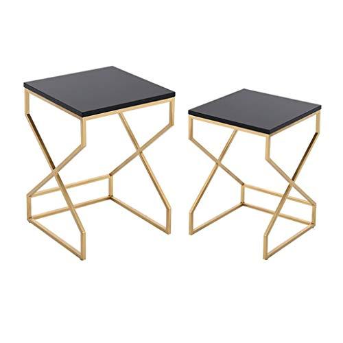 Tavolino da Salotto Tavolino da caffè Tavolino da Salotto Quadrato in Metallo con 2 tavolini, Tavolo da Pranzo con Divano e Tavolo da Pranzo Tavolino da Salotto (Size : B)