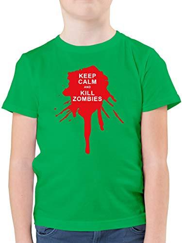 Up to Date Kind - Keep Calm and Kill Zombies - 164 (14/15 Jahre) - Grün - Statement - F130K - Kinder Tshirts und T-Shirt für Jungen