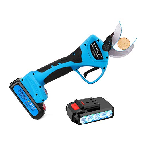 SWANSOFT Electric Pruning Shears, Cordless Pruner with 1.5 Inch Cutting Diameter, Battery Powered Pruning Shears with 2Pcs Backup Battery