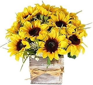 Sweet Home Deco Silk Sunflower Artificial Flower Bouquet/Flower Boutonniere Wedding Flowers (Yellow Arrangement w/Wooden Vase)