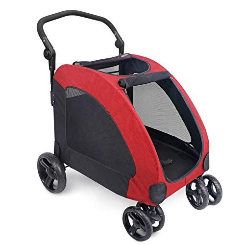 IREENUO Dog Stroller, 4 Wheels Pet Jogger Wagon Foldable Cart, Adjustable Handle, Zipper Entry, Skylight Window Stroller Suitable for Variety Roads with Back Pocket for Medium Large Dog Traveling Red