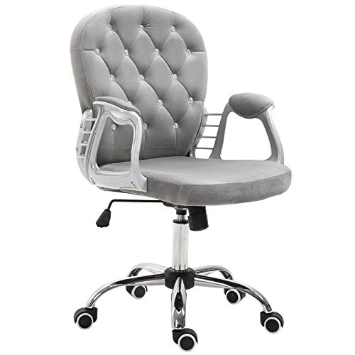 Vinsetto Bürostuhl, ergonomisch, 360° drehbar, Diamant, getuftet, Velours, gepolsterter Fuß, 5 Rollen, Grau
