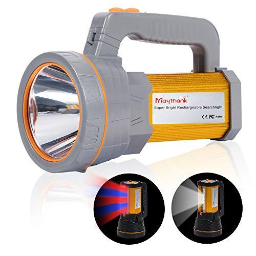 MAYTHANK Super Helle Led Suchscheinwerfer Wiederaufladbare Taschenlampe 4 Batterien betrieben 10000mah USB Aufladbar Akku Grosse Handscheinwerfer Handlampe Wasserdicht Camping Boot Marine Flashlight