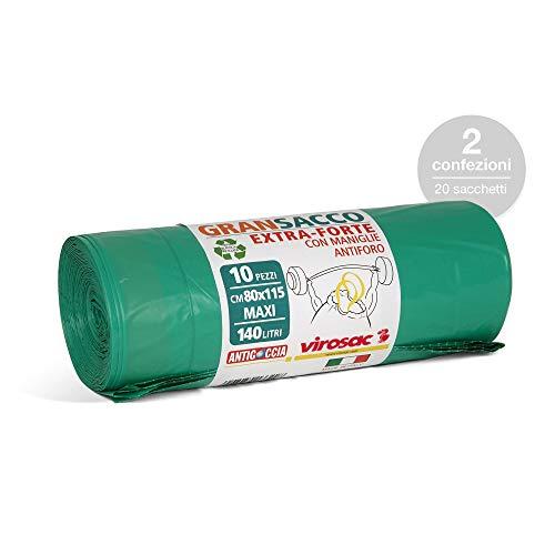 Virosac - Gransacco - Sacchi verdi 80x115, antiforo e con maniglie estraibili, ideali per giardinaggio, 10 pezzi per rotolo, kit da 2 rotoli