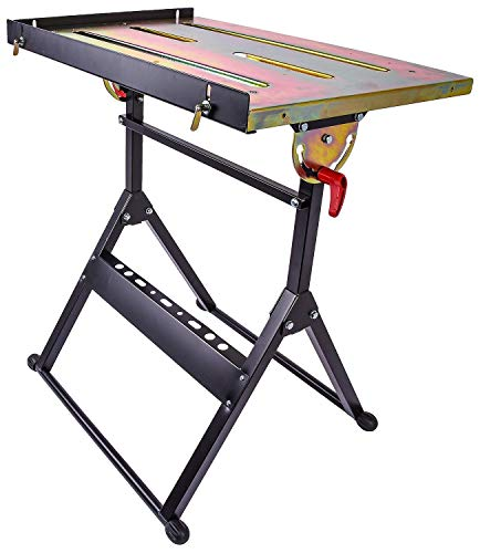 """JEGS Adjustable Welding Table   Five Adjustable Positions   350 LBS Capacity   Steel   Retractable Edge Guides   30"""" Long by 20"""" Wide x 32.59"""" High"""