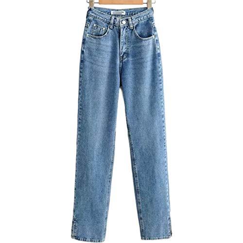 Pantalones de Mezclilla de Cintura Alta para Mujer Otoño/Invierno Pantalones de Mezclilla de Pierna Ancha Sueltos y Personalizados con Aberturas S