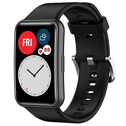 Wownadu Armband Kompatibel für Huawei Watch Fit Armbänder Damen Herren Ersatzarmband, Schwarz Verstellbarer Sport Uhrband,Zubehör,(kein uhr)