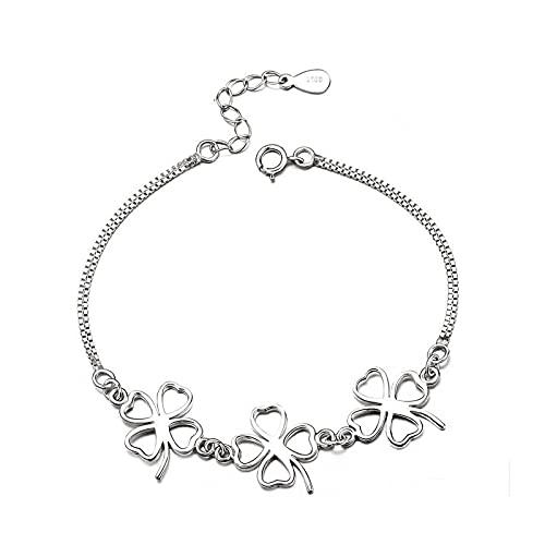 1 pulsera de trébol de cuatro hojas S925 plata esterlina simplicidad regalos de cumpleaños para novias