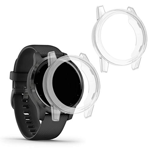 kwmobile 2X Carcasa Compatible con Garmin Vivoactive 4S - Funda para Fitness Tracker en Transparente