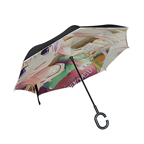 Hibiki Otoha Ojousama WA Gokigen Naname Girl Shop Paraguas invertido Grande Doble Capa para el Aire Libre Sol Coche Paraguas Reversible
