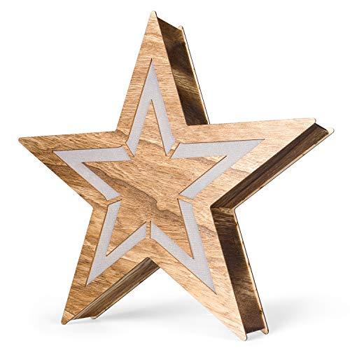 SnowEra LED Holzdekoration | Weihnachtsdekoration | Weihnachtsbeleuchtung mit 10 LED´s inkl. Batterien – Lichtfarbe: warm weiß | Form: Stern 3 – 50 cm - FSC 100 %
