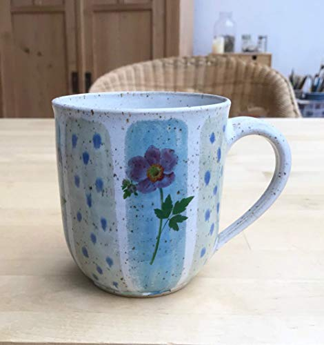 Keramik Becher Tasse Kaffee Tee, 250ml, türkisblau/grün mit Anemonen-getöpfert
