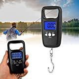 Báscula electrónica de pesca portátil de 50 kg, báscula electrónica de bolsillo, gancho para colgar equipaje báscula para el hogar al aire libre (negro)