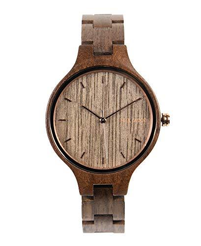 Feel Wood - Reloj de Mujer 36mm Hecho de Madera Natural y sostenibles - Correa Intercambiable(Rose Walnut)