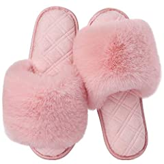 FUZZY & LUXURY SLIPPER SHOES - Soft furry faux fur upper plus terry cloth lining, with fashion glitter trim perfect for girls or ladies who love fancy and warm feet. Breathable design wicks away moisture quickly after a long day walking or a hot show...