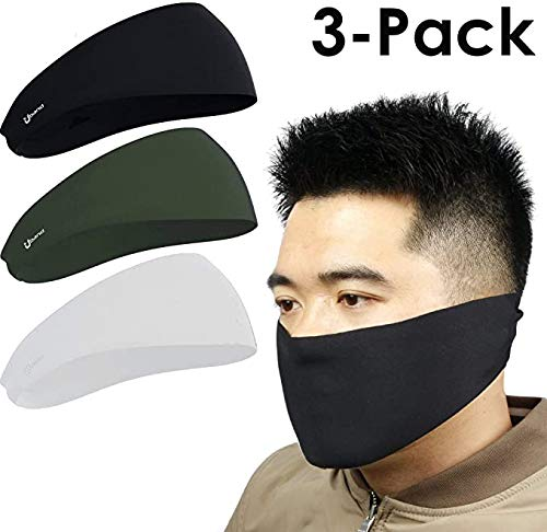 2in1 Headband & Face Mask Stay Dry and Protected from Dust, Aerosoles & Elements, Performance Sweatband
