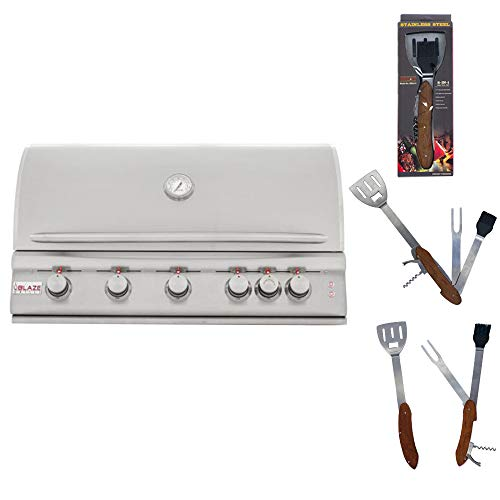 Blaze 40-Inch 5 Burner Natural Gas Grill with Rear Burner and Built-in Lighting System BLZ-5LTE with Best of Backyard 5 in 1 BBQ Tool Set
