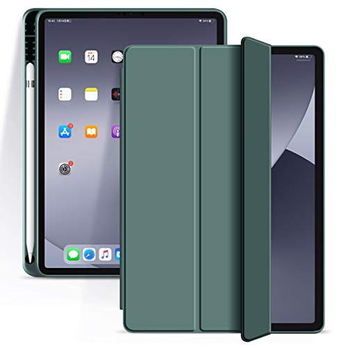 KenKe for iPad Pro 11 Inch 2020 Case with Pencil Holder, Lightweight and Ultra-Thin Silicone Soft Smart Case Auto Sleep/Wake, Trifold Stand Cover iPad Pro 11 Case 2020 & 2018 Release - Dark Green