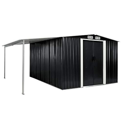 Gerätehaus mit Schiebetüren Anthrazit 386×312×178 cm Stahl