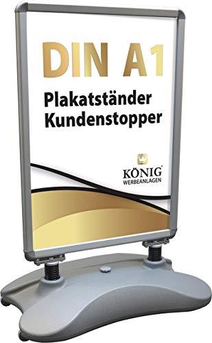 Plakatständer DIN A1 | beidseitig für 2 Plakate | entspiegelte Schutzscheiben | wetterfest | Kundenstopper Gehwegaufsteller | Dreifke® (Wind Line DIN A1 silber)