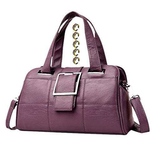 GGLZMMF Gege Leather Ladies Handbags Large-capacity Shoulder Bags Messenger Bags Pillow Bags Mother Bags Wine Red Purple Blue Black Gray Purple-OneSize
