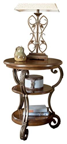 Signature Design by Ashley - Nestor  Traditional Chairside End Table w/ Two Shelves, Medium Brown
