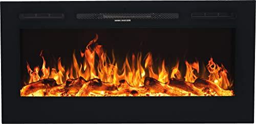 Cheminée électrique Majestic   Cheminée murale   Cheminée électrique (750 W ou 1500 W)   simulation de feu LED   profondeur seulement 14 cm (114 x 54 x 14)