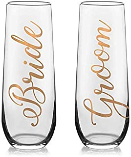 Bride and Groom Toasting Flutes - Champagnes flutes for the Bride and Groom - Engagement Gift - Wedding Day Flutes