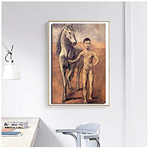 nr Pablo Picasso Junge führt EIN Pferd Wandkunst Leinwand Poster Drucke Ölgemälde Wandbilder für Wohnzimmer nach Hause 50x70cm Rahmenlos