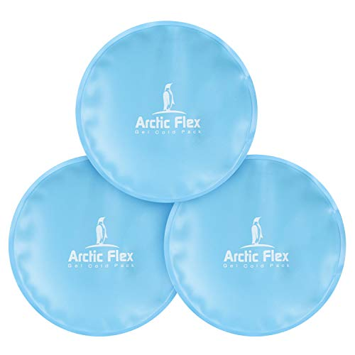 Arctic Flex XL Round Ice Pack (3 Count) - Soft Gel Compression Icepack - Hot Cold for Headache, Eye Puffiness, Wisdom Teeth and Breastfeeding Relief - Reusable for Kids, Men, Women - Flexible Pad