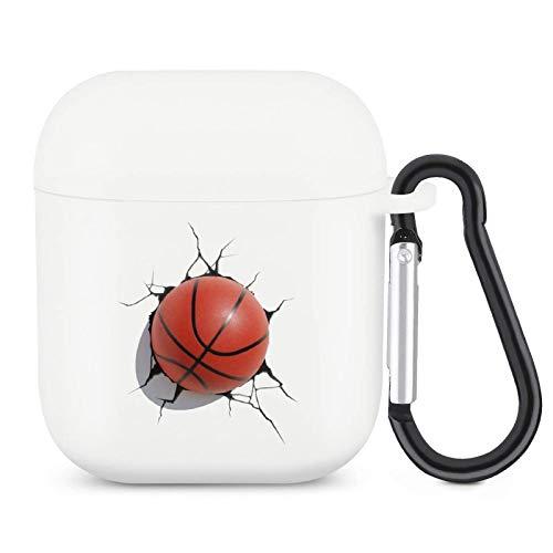Funda para Airpods Airpod Silicona Skin Ball Impresión Deportiva Cubierta Completa Duradera a Prueba de Golpes con Llavero Compatible con Apple Airpods 2 y 1 Funda Baloncesto