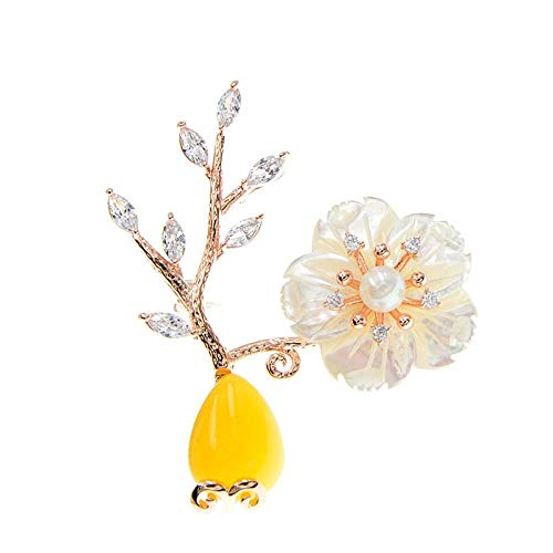 GLKHM Brooches for Ladies Vintage Flower Stone Vase Brooches Women Wedding Pin Brooch Accessories-1_4.8 * 4.5Cm