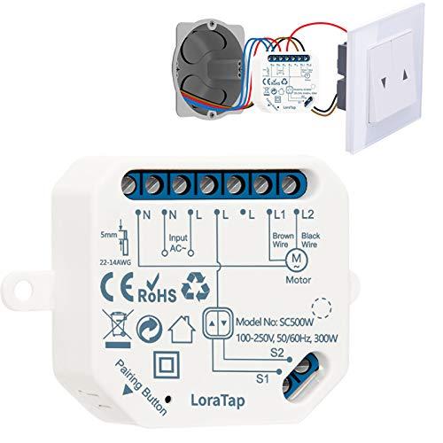 LoraTap Interrupteur Module Volet Roulant Connecté, Commutateur Rideau Stores WiFi, Compatible avec Alexa Google Home pour Commande Vocale, Minuterie Intelligent Moteur Mural