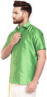 SJS-Men's Half Sleeve Solid Art Silk Shirt (Parrot Green, 36)