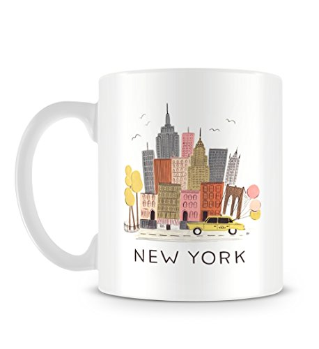 Cool New York Illustration with Yellow cab and Skyscraper Tasse