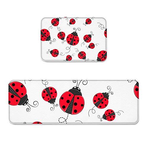 """Prime Leader 2 Piece Non-Slip Kitchen Mat Runner Rug Set Doormat White Background Red Ladybug Door Mats Rubber Backing Carpet Indoor Floor Mat (15.7"""" x 23.6""""+15.7"""" x 47.2"""")"""