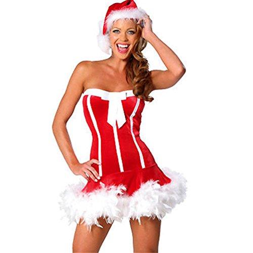 YeeHoo Le Donne Natalizio Senza Spalline Benda Bodycon Vestito con Cappello di Babbo Natale Costumi