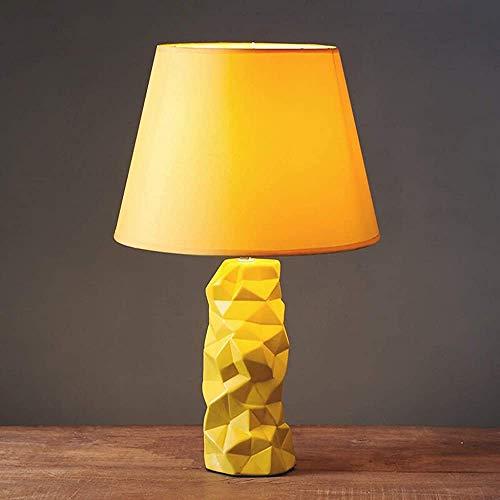 Lámpara de mesa Lámpara de mesa nórdica cama de dormitorio Faro geométrico Irregular Patrón Mesa Lámpara Botón Interruptor Mano de control remoto Faro de la cama,Yellow