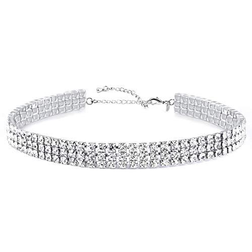 Zealmer Women 3 Row Clear Rhinestone Choker Necklace Silver Tone