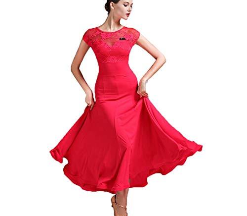 ZYLL Spitze Modernes Tanzkleid für Frauen National Standard Ballsaal Tanz Outfit Spitzennähte Tango Walzer ÜbungsrockWettbewerb Kleider Tüll-Schaukel,Red,S