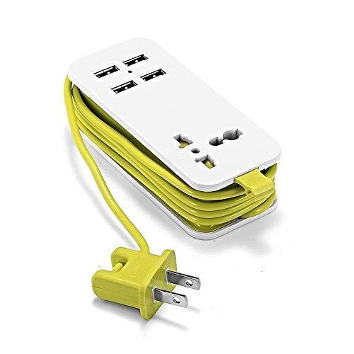 NLRHH Arrastre Línea Tablón Power Strip con 2/4 USB Portátil Socket de extensión 1.5M Longitud de Cable Tira de Encendido Adaptador de Viaje Teléfono de Viaje Cargador rápido Peng