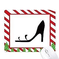 黒いハイヒールのシンプルなグラフィックシルエット ゴムクリスマスキャンディマウスパッド