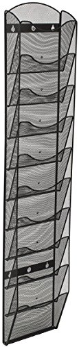 Displays2go Wall Mount Literature Rack Organizer, 10 Pockets, Black Steel Mesh (MSHWL10BK)