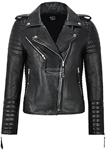 Smart Range Leather Co. Ltd. Giacca da Donna in Pelle Nera Classico Stile da Motociclista 100% Vera Pelle Napa 2260 (16 for Bust 90cm)