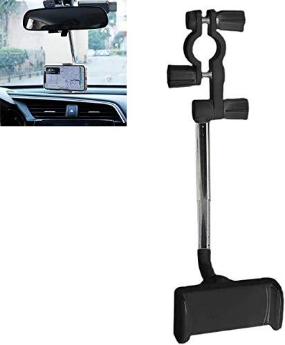 360 Soporte para teléfono con espejo retrovisor 2021 para teléfono móvil de coche, soporte universal 360 ajustable para asiento GPS de coche para teléfonos móviles de 4-6.1 pulgadas, color negro