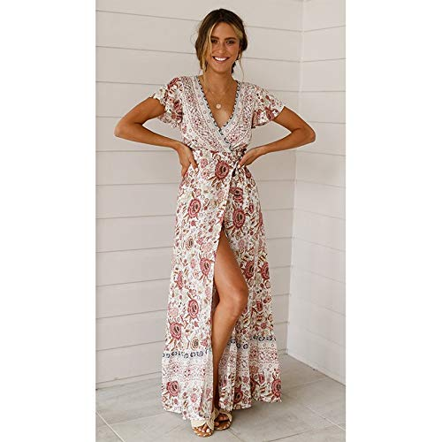 Hanks 'Shop. Kleid Sexy Casul Maxi-Kleid mit V-Ausschnitt Cardigan Lace-up Printed-Strand-Kleid (Color : Leather Pink, Size : XL)