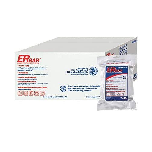 ER Emergency Ration 2400 Calorie Food Bars for Survival Kits and Disaster Preparedness, Case of 20, 1AC 3