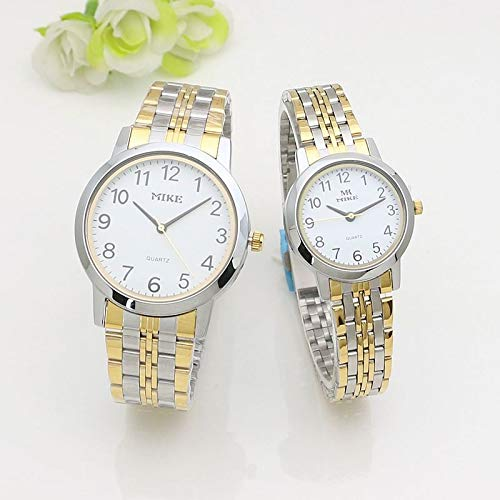 ZWH AMZ Fashion Watch Old Man Digital Scale Watch Watch Reloj Pareja Steel Strip Watch 8292 (Color : Black Sided Women)